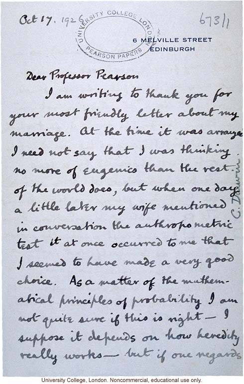 Charles (Galton) Darwin letter Karl Pearson, lighthearted analysis by Darwin's grandson of the eugenic effects of his arranged marriage (10/17/1926)