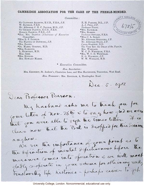 Ida Darwin letter to Karl Pearson about definition of mental defectiveness for Mental Deficiency Act before Parliament (12/5/1912)