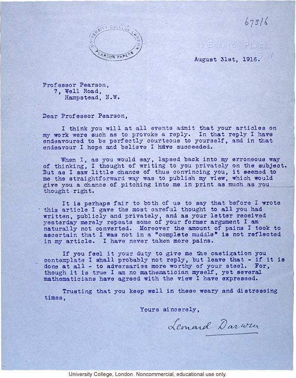 L. Darwin letter to K. Pearson about argument over publications (8/31/1916)