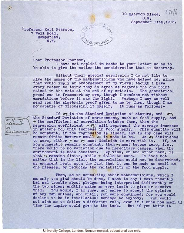 Leonard Darwin letter to Karl Pearson about disagreement over a mathematical realtionship between stature and environment (9/11/1916)