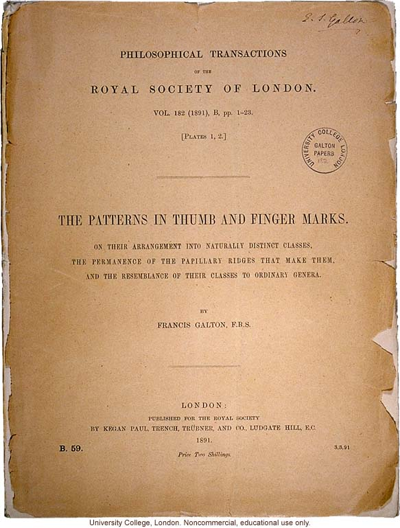 &quote;The Patterns in Thumb and Finger Marks,&quote; by Francis Galton, <i>Phil. Trans. Royal Society</i> (vol. 182), selected pages