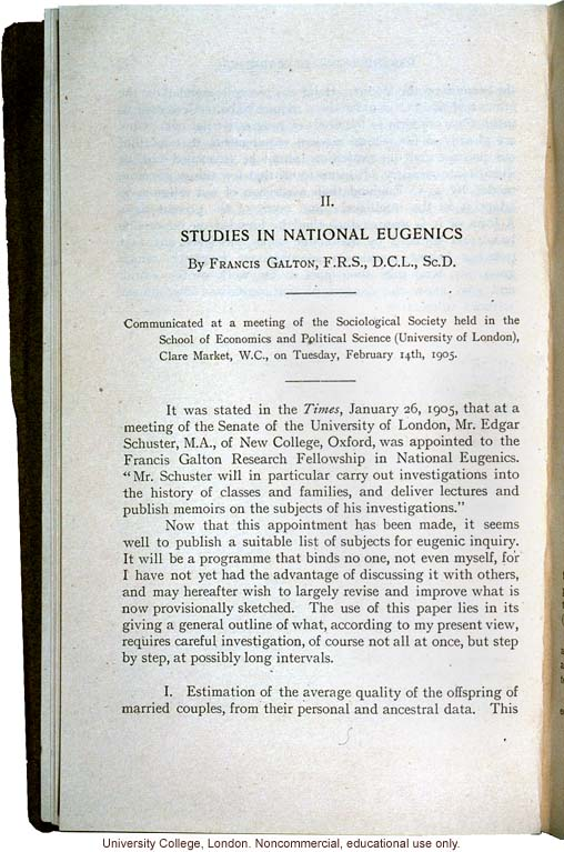 &quote;Studies in National Eugenics,&quote; by Francis Galton, subjects for eugenics inquiry communicated at meeting of Sociological Society (2/14/1905)
