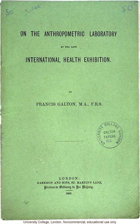 &quote;On the Anthropometric Laboratory at the late International Health Exhibition,&quote; by Francis Galton