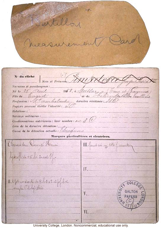 Alphonse Bertillon's measurement card, done according to his own system for criminal anthropometry