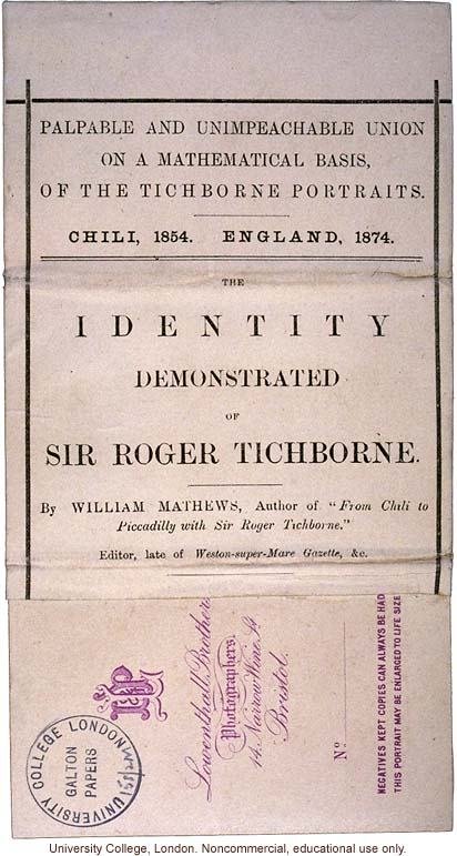 &quote;The Tichborne Blended Photographs,&quote; of Sir Roger Tichborne and man who claimed to be Tichborne