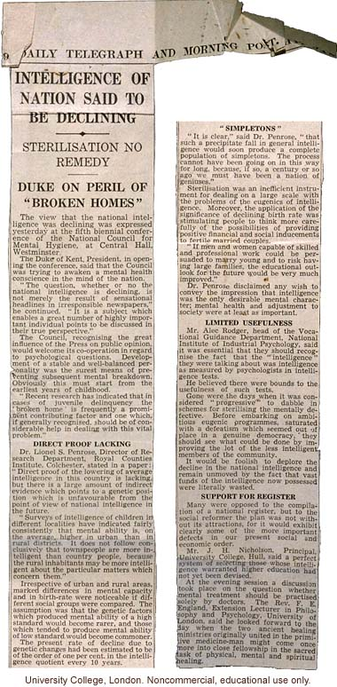 &quote;Intelligence of Nation Said to be Declining: Sterilization No Remedy,&quote; <i>Daily Telegraph and Morning Post</i> (1/13/1939)