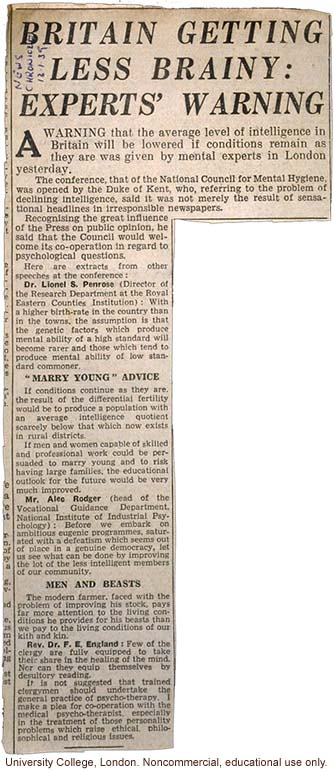 &quote;Britain Getting Less Brainy: Experts' Warning,&quote; <i>News Chronicle</i> (12/1/1939)