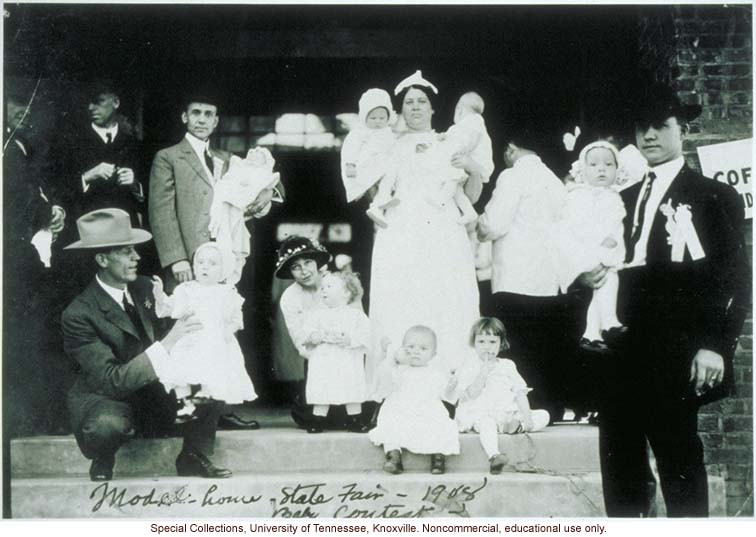 &quote;Model home - State Fair - 1908 Baby Contest,&quote; Better Babies contestants on Steps of Mothers Congress Model Home, Louisiana State Fair, Shreveport