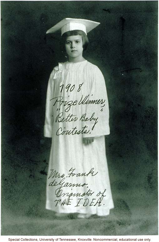&quote;1908 Prize Winner, &quote;Better Baby' Contests. Mrs. Frank deGarmo, Originator of THE IDEA.&quote; Louisiana State Fair, Shreveport