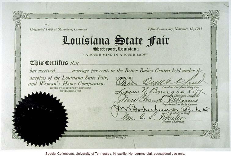 Better Babies Contest award certificate, Louisiana State Fair, Shreveport
