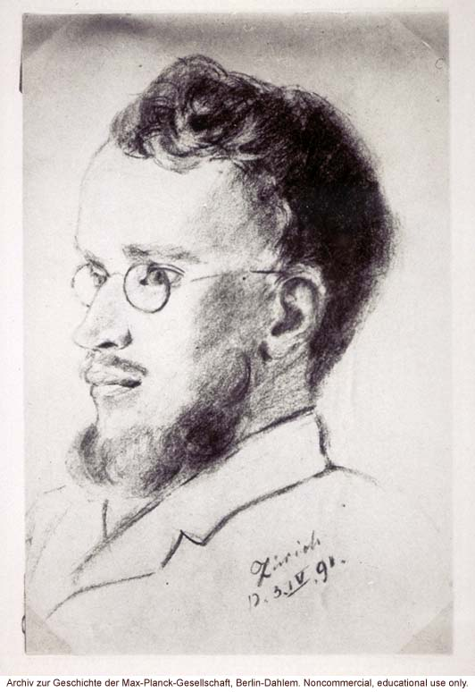 Sketch of Carl Correns, Kaiser-Wilhelm Institute for Plant Breeding, one of the rediscovers of Mendel's work