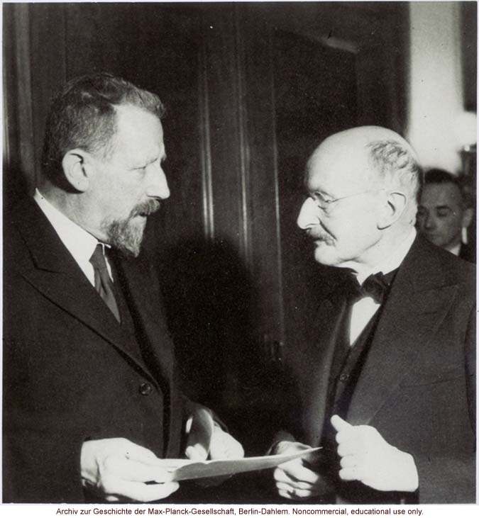 Eugen Fisher, Director of the Kaiser-Wilhelm Institute for Anthropology, Human Genetics, and Eugenics (1927-1942), with physicist Max Planck