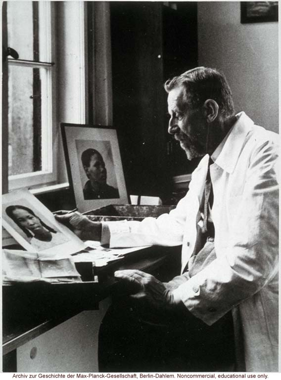 Eugen Fisher, Director of the Kaiser-Wilhelm Institute for Antropology, Human Heredity and Eugenics (1927-1942), looking at images of blacks