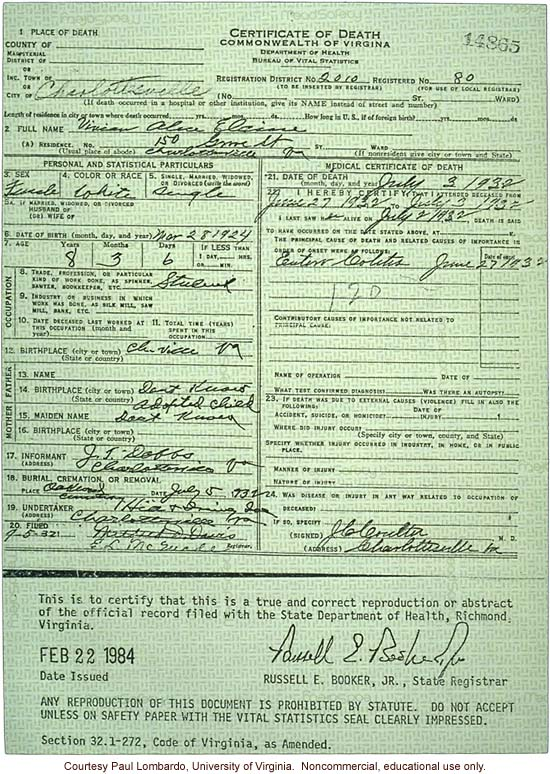 Death certificate of Carrie Buck's daughter, Vivian, who died of &quote;entero colitis&quote; at age 8