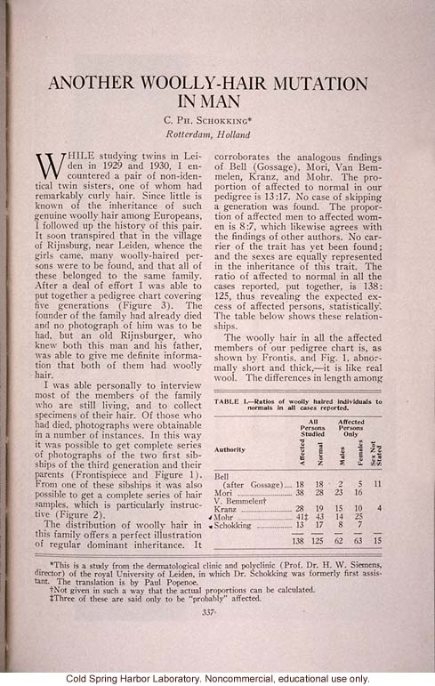 &quote;Another Wooly-Hair Mutation in Man,&quote; by C.Ph. Schokking, <i>Journal of Heredity</i> (vol. 25)