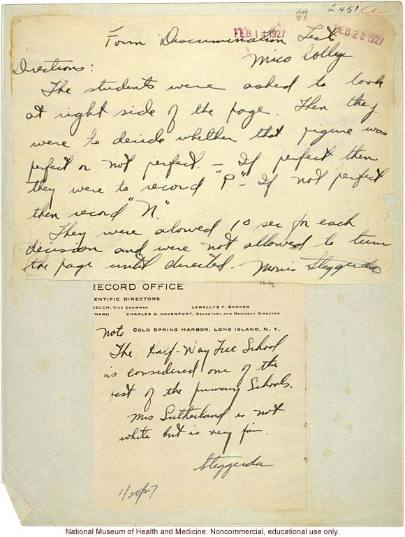 Morris Steggerda's handwritten directions for administering Form Discrimination Tests conducted at Mico College for <i>Race Crossing in Jamaica</i>C