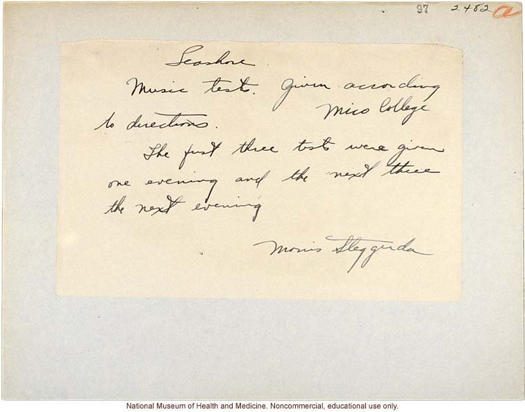 Morris Steggerda's handwritten note about music tests conducted at Mico College for <i>Race Crossing in Jamaica</i>