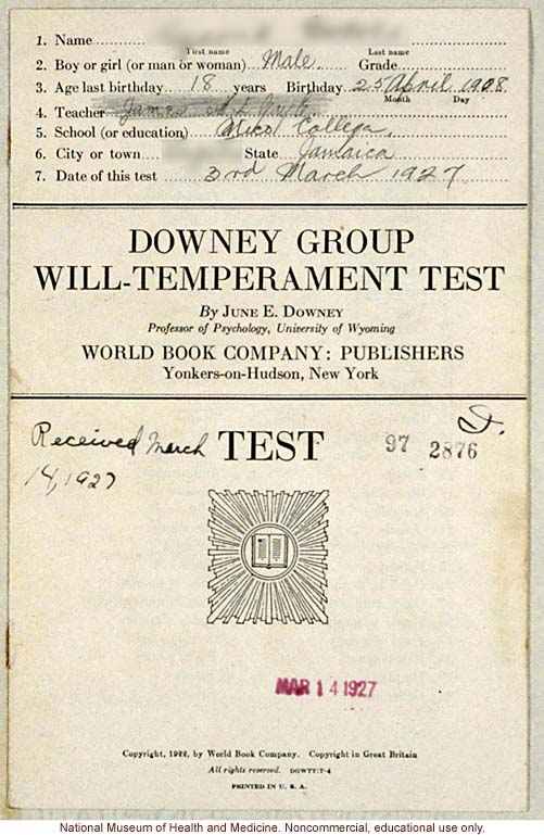 &quote;Downey Group Will-Temperament Test,&quote; Mico College, conducted by Morris Steggerda for <i>Race Crossing in Jamaica</i>