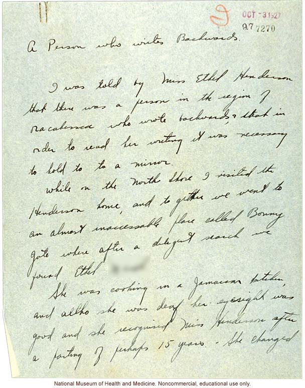 &quote;A Person who writes Backwards,&quote; handwritten report with photo and writing samples, conducted in Jamaica by Morris Steggerda