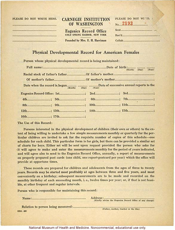 &quote;Physical Development Record for American Females,&quote; Eugenics Record Office (including forms, directions, and growth graphs)