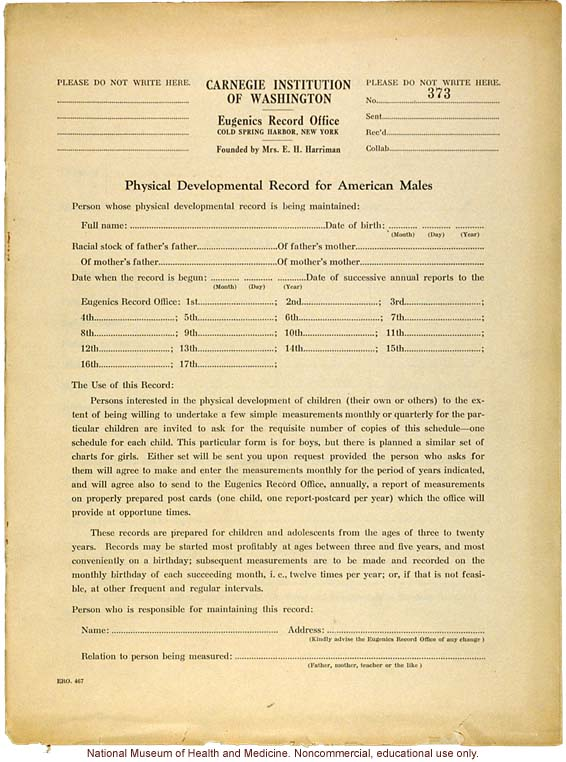 &quote;Physical Development Record for American Males,&quote; Eugenics Record Office (including forms, directions, and growth graphs)