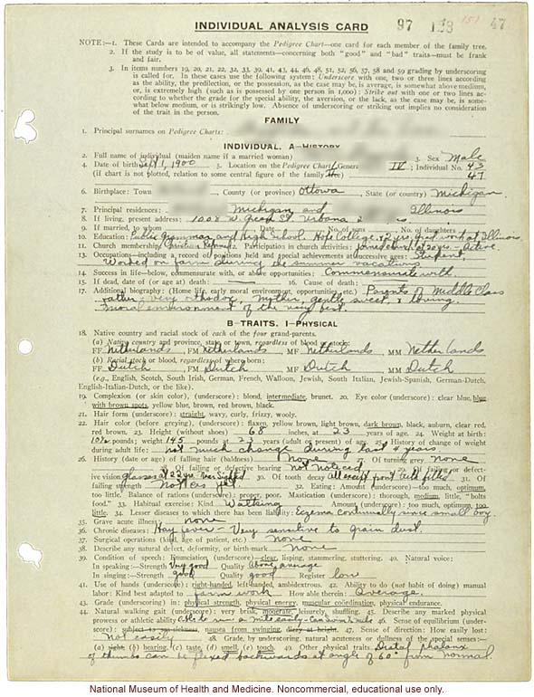 &quote;Individual Analysis Card,&quote; Eugenics Record Office