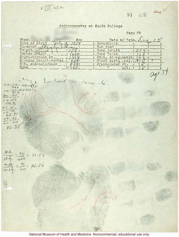 &quote;Anthropometry at Smith College,&quote; form with measurements, handprints, and hand/foot tracings (&quote;Observer Steggerda&quote;)