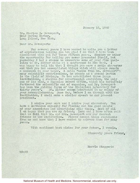 Morris Steggerda letter to Charles Davenport, thanking him for years of collaboration and friendship and calling him &quote;a second Darwin&quote; (1/10/1940)