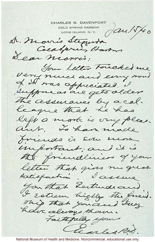 Charles Davenport letter to Morris Steggerda, acknowledging their collaboration and friendship over the years (1/15/1940)