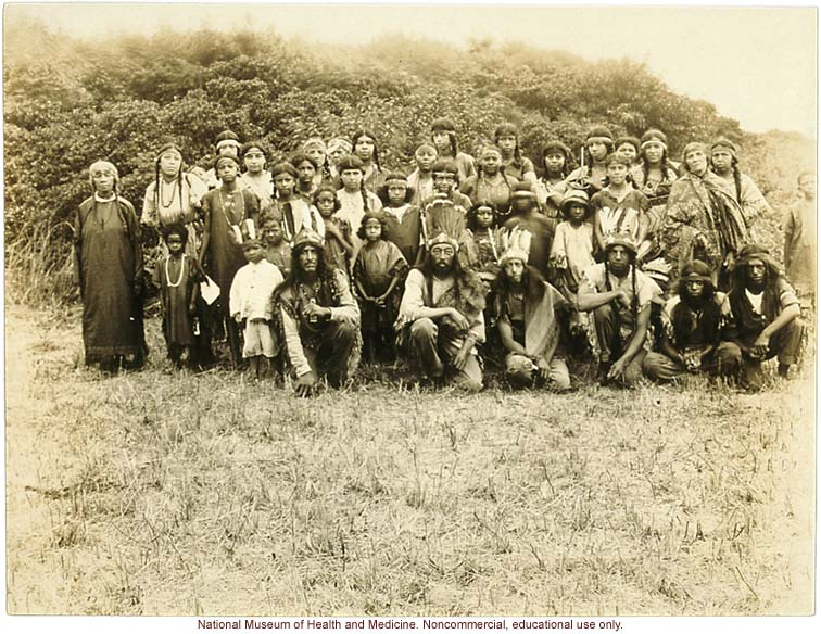 Group photograph of Indians on the Shinnecock Researvation, eastern Long Island (with overlay key)