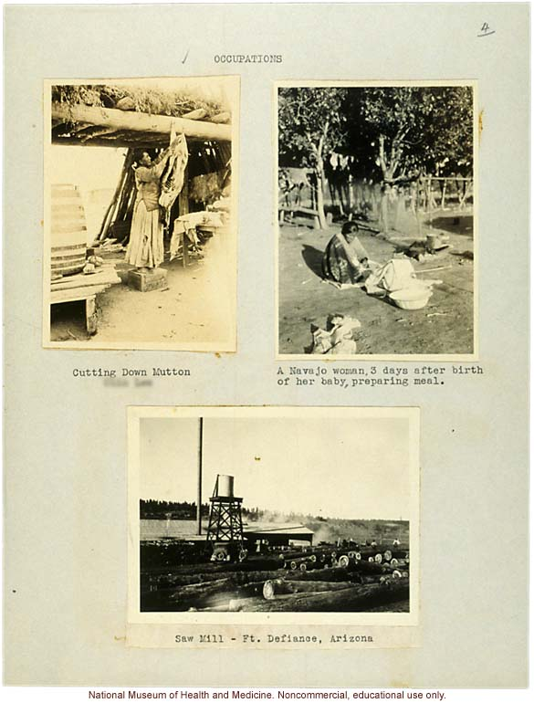 Navajo &quote;Occupations&quote; (butchering meat, grinding meal, and saw mill) at Fort Defiance, Arizona