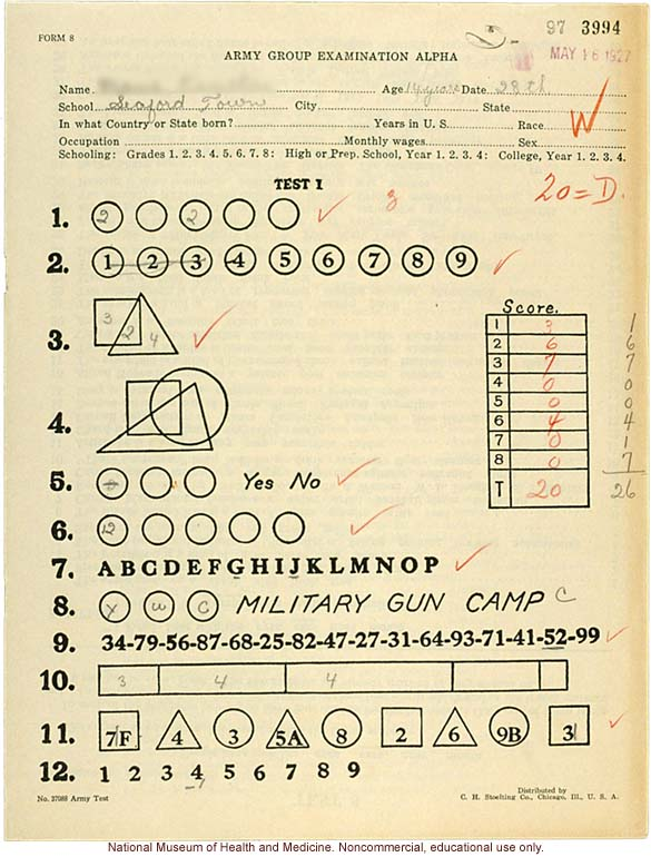 Seaford Town female anthropometric case: &quote;Army Group Examination Alpha,&quote; by Morris Steggerda for <i>Race Crossing in Jamaica</i>