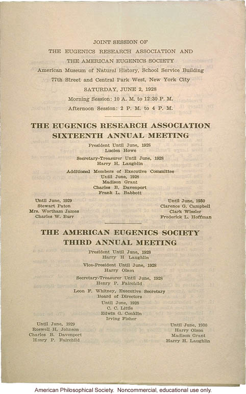 Eugenics Research Association 16th Annual Meeting