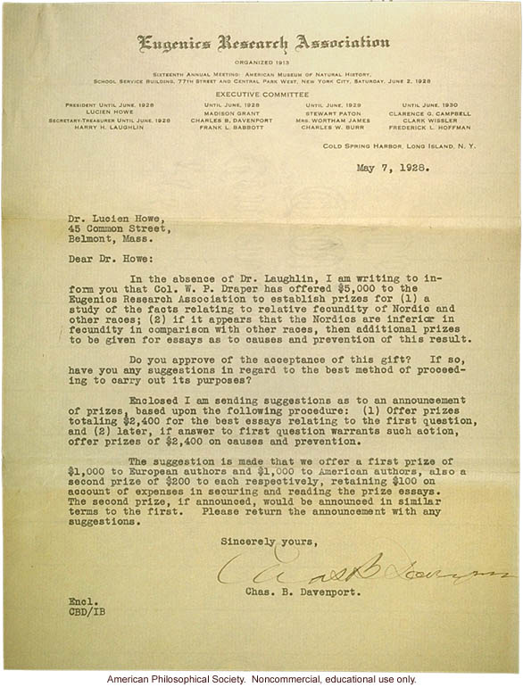 Charles Davenport letter to Lucien Howe, about prizes for eugenic studies of Nordic races