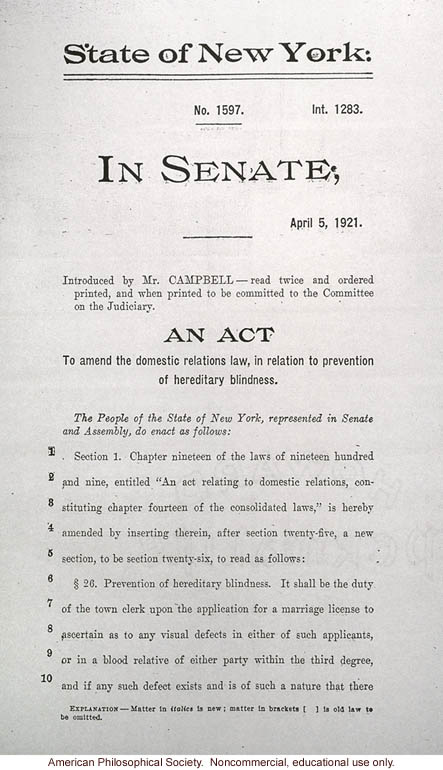 &quote;An act to amend the domestic relations law, in relation to prevention of hereditary blindness&quote;, New York State Senate