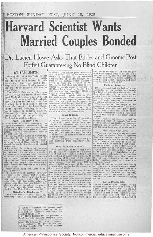 &quote;Harvard scientist wants married couples bonded,&quote; by Sam Smith, Boston Sunday Post