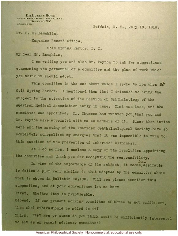 Lucien Howe letter to Harry Laughlin, about AMA study on hereditary blindness