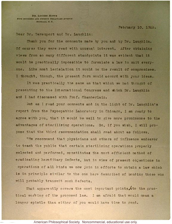 Lucien Howe response to Charles Davenport and Harry Laughlin, about sterilization, marriage and blindness