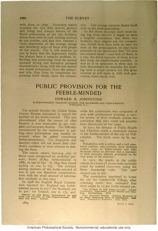 &quote;Public provision for the feeble-minded,&quote; by Edward Johnstone