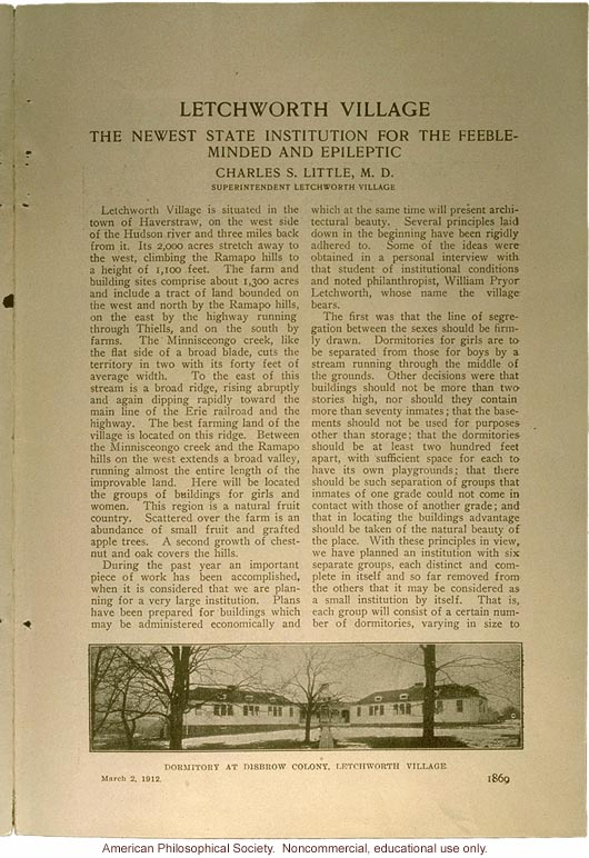 &quote;Letchworth Village: the newest state institution for the feeble-minded and epileptic,&quote; by Charles Little