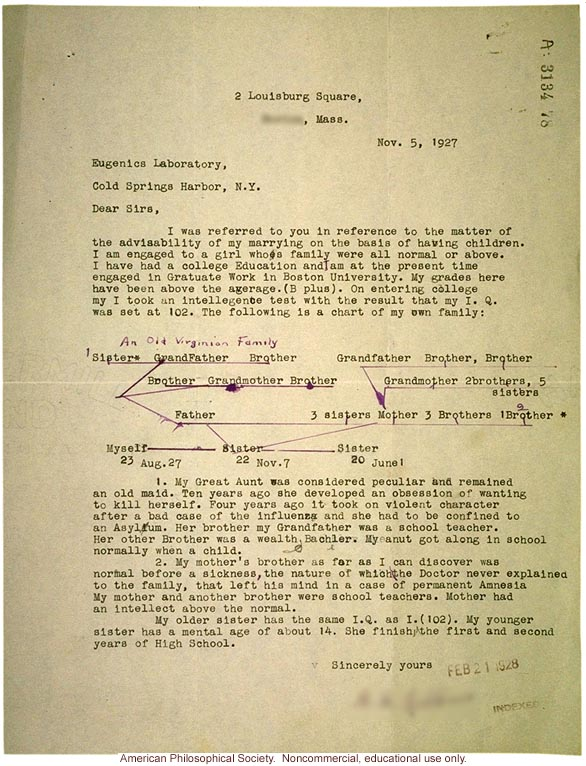 H.F. Robbins letter to Eugenics Laboratory about marriage advice