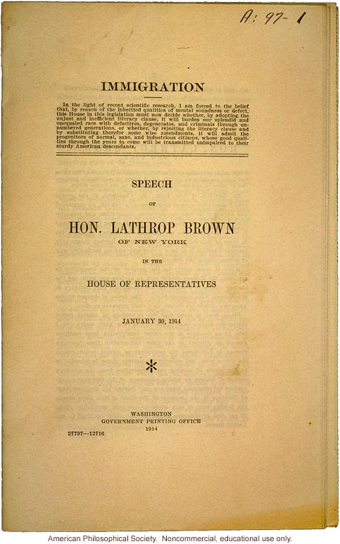 Lathrop Brown speech to House of Representatives about immigration