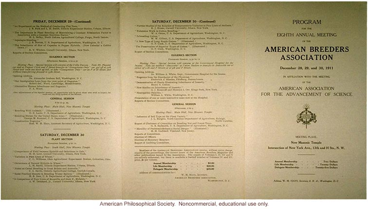Program of the 8th annual meeting of the American Breeders Association