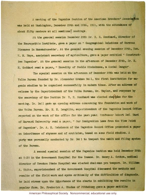 Minutes of the Eugenics Section, 8th annual meeting of the American Breeders Association, with resolution to organize immigration committeee
