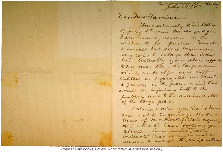 Charles Davenport letter to Mrs. E.H. Harriman about Eugenics Record Office (7/10/1910)