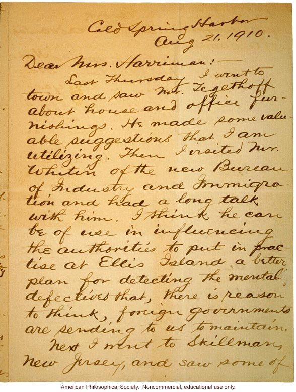 Charles Davenport letter to Mrs. E. H. Harriman about immigration