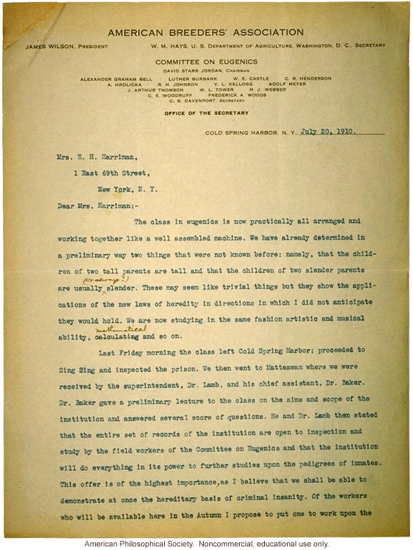 Charles Davenport letter to Mrs. E.H. Harriman about recruitment of first class
