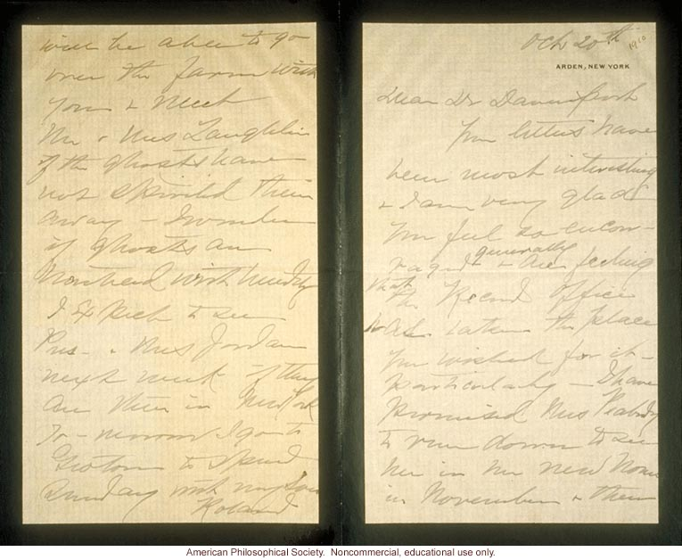 Mrs. E.H. Harriman letter to Charles Davenport about Eugenics Record Office (10/20/1910)