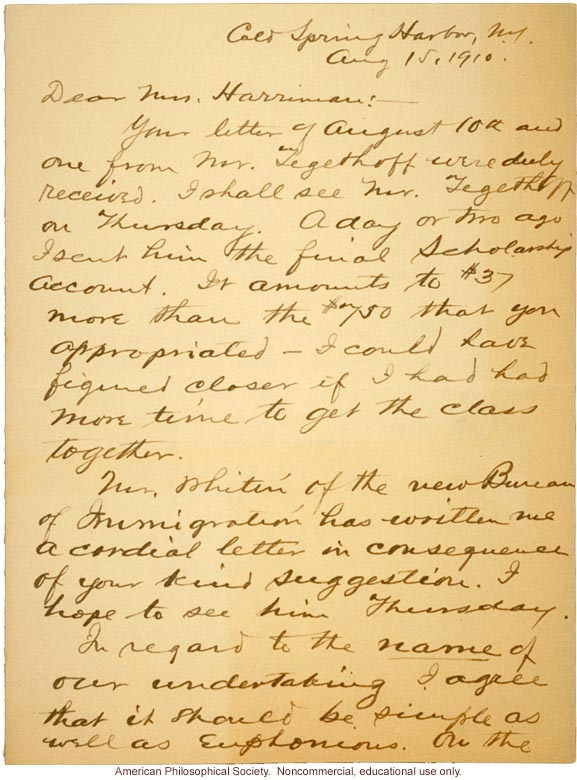 Charles Davenport letter to Mrs. E.H. Harriman about Eugenics Record Office name