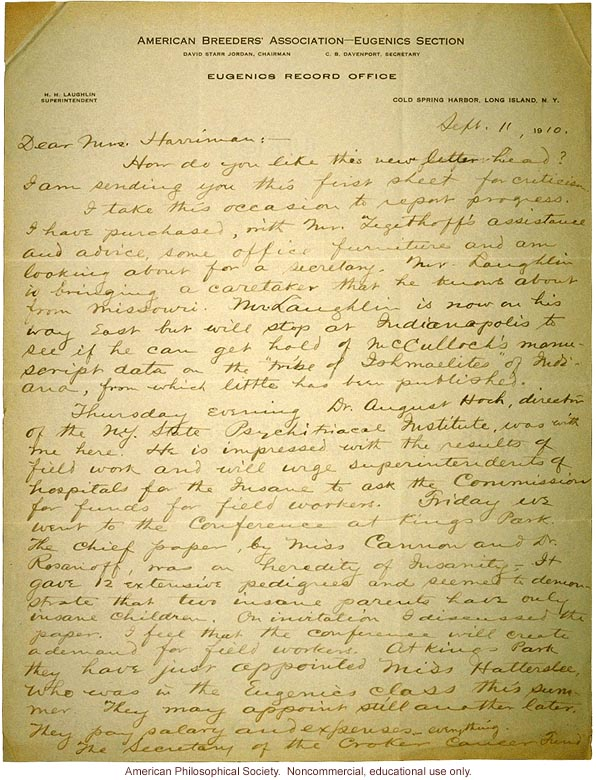Charles Davenport letter to Mrs. E.H. Harriman about Eugenics Record Office (9/11/1910)